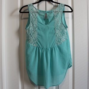 Turquoise High Low Tank w/ Crochet (4 for $15)
